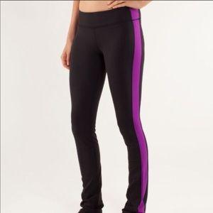 Lululemon | Black Leggings with Purple Stripe